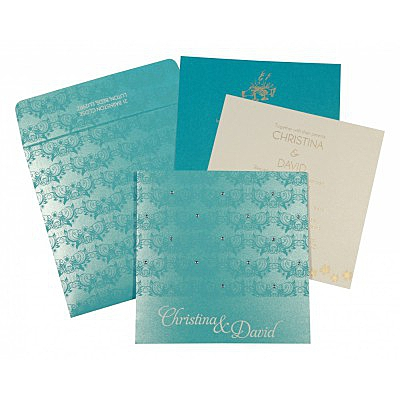 Blue Shimmery Butterfly Themed - Screen Printed Wedding Card : CI-8258D - IndianWeddingCards