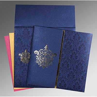 South indian wedding cards in tamil telugu kannada malayalam blue shimmery damask themed foil stamped wedding card cso 1503 stopboris Choice Image