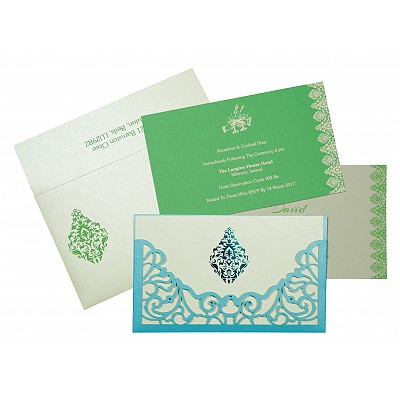 Blue Shimmery Damask Themed - Laser Cut Wedding Card : CS-8262A - IndianWeddingCards