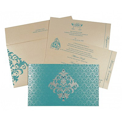 Blue Shimmery Damask Themed - Screen Printed Wedding Card : CC-8257E - IndianWeddingCards