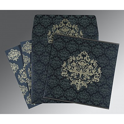 Blue Shimmery Damask Themed - Screen Printed Wedding Card : CIN-8254C - IndianWeddingCards