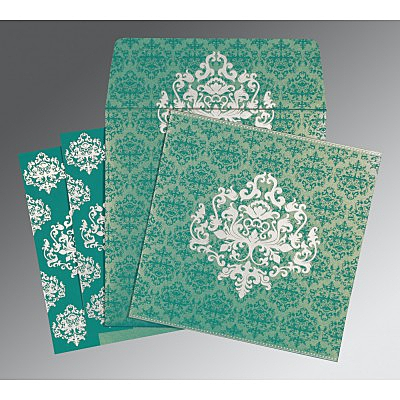 Blue Shimmery Damask Themed - Screen Printed Wedding Card : CS-8254E - IndianWeddingCards