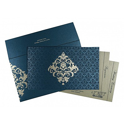 Blue Shimmery Damask Themed - Screen Printed Wedding Card : CS-8257G - IndianWeddingCards