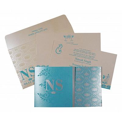 Blue Shimmery Damask Themed - Screen Printed Wedding Invitation : CSO-8261E - IndianWeddingCards