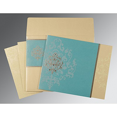 Blue Shimmery Damask Themed - Screen Printed Wedding Card : CW-8253E - IndianWeddingCards