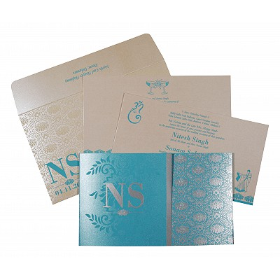 Blue Shimmery Damask Themed - Screen Printed Wedding Invitation : CW-8261E - IndianWeddingCards