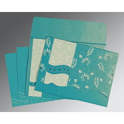 Blue Shimmery Floral Themed - Embossed Wedding Invitations : CW-8236J - IndianWeddingCards
