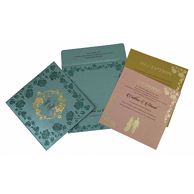 Blue Shimmery Floral Themed - Foil Stamped Wedding Invitation : CD-1794 - IndianWeddingCards