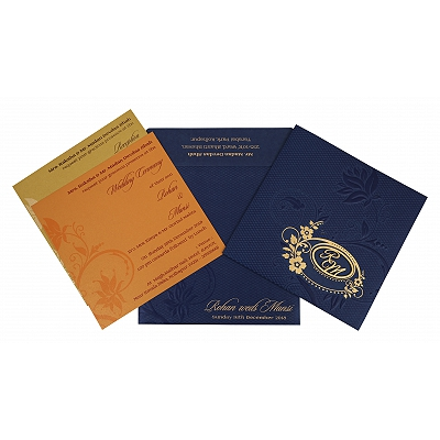 Blue Shimmery Floral Themed - Foil Stamped Wedding Invitation : CI-1774 - IndianWeddingCards