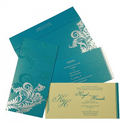 Blue Shimmery Floral Themed - Screen Printed Wedding Card : CC-8259B - IndianWeddingCards