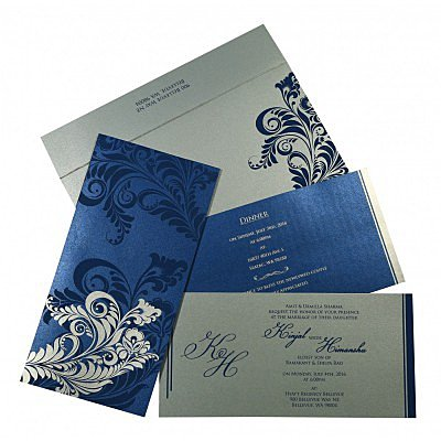 Blue Shimmery Floral Themed - Screen Printed Wedding Card : CD-8259E - IndianWeddingCards