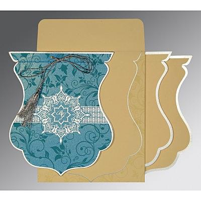 Blue Shimmery Floral Themed - Screen Printed Wedding Card : CI-8229M - IndianWeddingCards