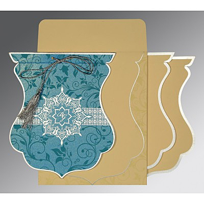 Blue Shimmery Floral Themed - Screen Printed Wedding Card : CS-8229M - IndianWeddingCards