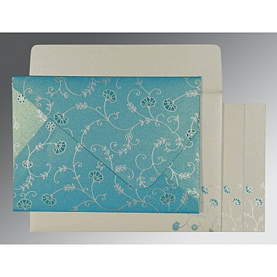 Blue Shimmery Floral Themed - Screen Printed Wedding Invitation : CW-8248F - IndianWeddingCards