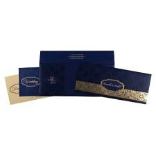Blue Shimmery Foil Stamped Wedding Invitation : CIN-1718 - IndianWeddingCards