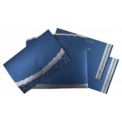 Blue Shimmery Foil Stamped Wedding Invitation : CSO-806B - IndianWeddingCards