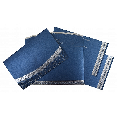 Blue Shimmery Foil Stamped Wedding Invitation : CW-806B - IndianWeddingCards