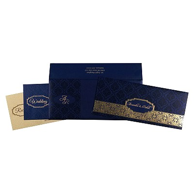 Blue Shimmery Foil Stamped Wedding Invitation : CD-1718 - IndianWeddingCards