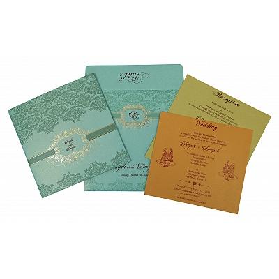 Blue Shimmery Foil Stamped Wedding Invitation : CI-1781 - IndianWeddingCards