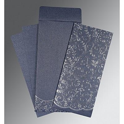 Blue Shimmery Foil Stamped Wedding Invitation : CS-1392 - IndianWeddingCards