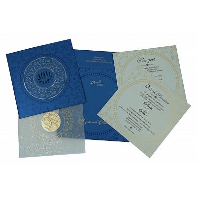 Blue Shimmery Laser Cut Wedding Invitation : CS-1779 - IndianWeddingCards