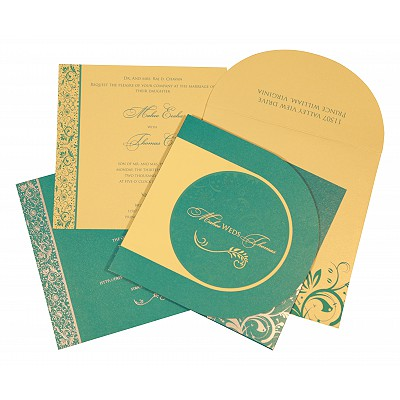 Blue Shimmery Paisley Themed - Screen Printed Wedding Card : CD-8264C - IndianWeddingCards