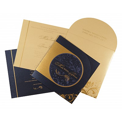 Blue Shimmery Paisley Themed - Screen Printed Wedding Card : CI-8264F - IndianWeddingCards