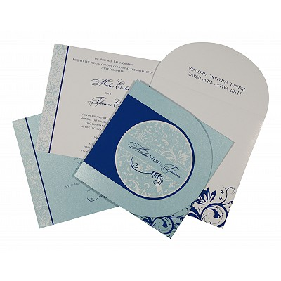 Blue Shimmery Paisley Themed - Screen Printed Wedding Card : CS-8264H - IndianWeddingCards