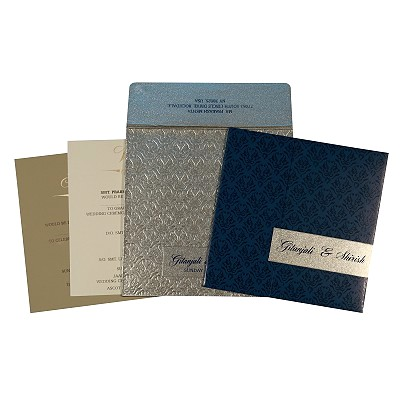 Blue Shimmery Paisley Themed - Screen Printed Wedding Card : CW-1702 - IndianWeddingCards