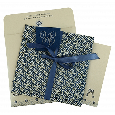 Blue Shimmery Screen Printed Wedding Invitation : CC-805D - IndianWeddingCards