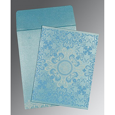 Blue Shimmery Screen Printed Wedding Card : CC-8244F - IndianWeddingCards