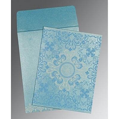 Blue Shimmery Screen Printed Wedding Card : CI-8244F - IndianWeddingCards