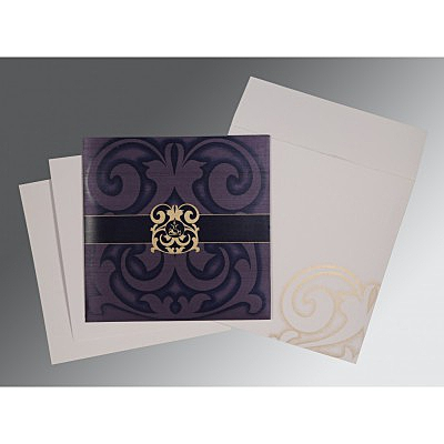 Blue Shimmery Screen Printed Wedding Card : CIN-2278