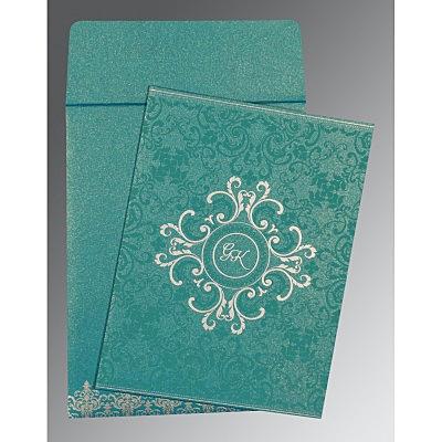 Blue Shimmery Screen Printed Wedding Card : CRU-8244C - IndianWeddingCards