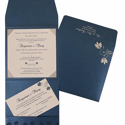 Blue Shimmery Screen Printed Wedding Invitation : CS-803D - IndianWeddingCards