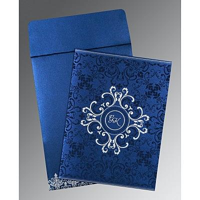 Blue Shimmery Screen Printed Wedding Card : CS-8244K - IndianWeddingCards