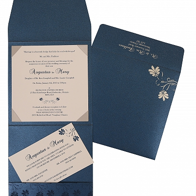 Blue Shimmery Screen Printed Wedding Invitation : CW-803D - IndianWeddingCards