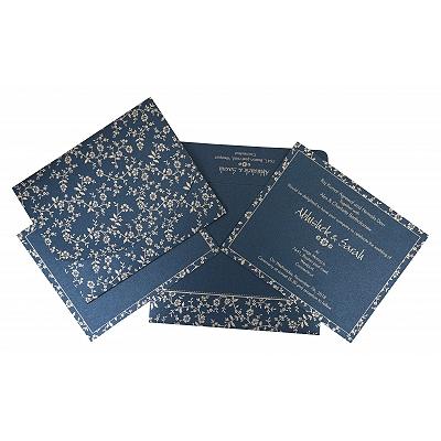 Blue Shimmery Screen Printed Wedding Invitations : CW-804D - IndianWeddingCards