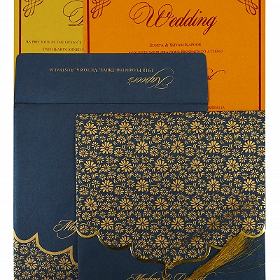 Blue Shimmery Unique Themed - Screen Printed Wedding Invitation : CS-1863 - IndianWeddingCards