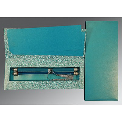 Blue Velvet Wedding Card : CSC-5009F - IndianWeddingCards