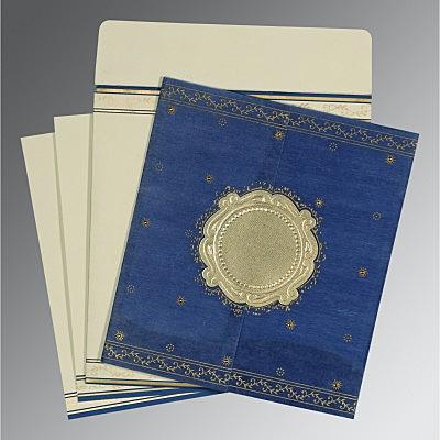 Blue Wooly Embossed Wedding Invitation : CD-8202I - IndianWeddingCards