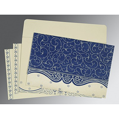 Blue Wooly Embossed Wedding Invitations : CD-8221C - IndianWeddingCards