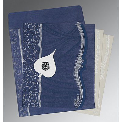 Blue Wooly Embossed Wedding Card : CW-8210H - IndianWeddingCards
