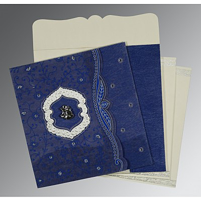 Blue Wooly Floral Themed - Embossed Wedding Card : CC-8209J - IndianWeddingCards