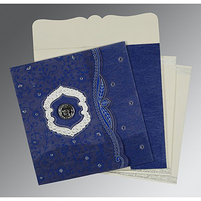 Blue Wooly Floral Themed - Embossed Wedding Card : CS-8209J - IndianWeddingCards