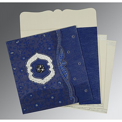Blue Wooly Floral Themed - Embossed Wedding Invitations : CW-8209J - IndianWeddingCards