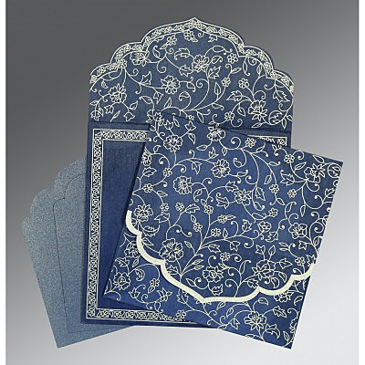 Blue Wooly Floral Themed - Screen Printed Wedding Invitation : CD-8211P - IndianWeddingCards