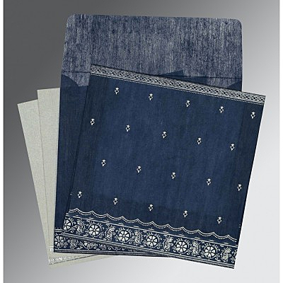 Blue Wooly Foil Stamped Wedding Card : CIN-8242J - IndianWeddingCards