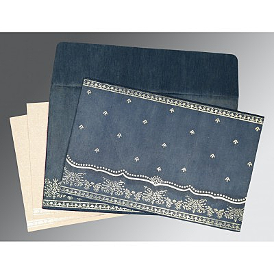 Blue Wooly Foil Stamped Wedding Invitations : CW-8241P - IndianWeddingCards