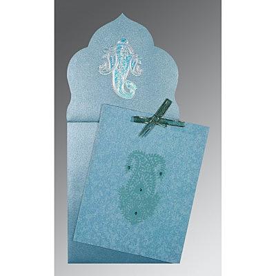 Blue Wooly Screen Printed Wedding Invitation : CC-1382 - IndianWeddingCards